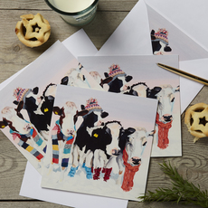 Friesian Cows in Hats and Scarves Christmas Card