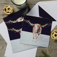Texas Longhorn Christmas Card by Lauren's Cows