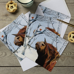 Highland Cow and Robin Christmas Card 4 Pack