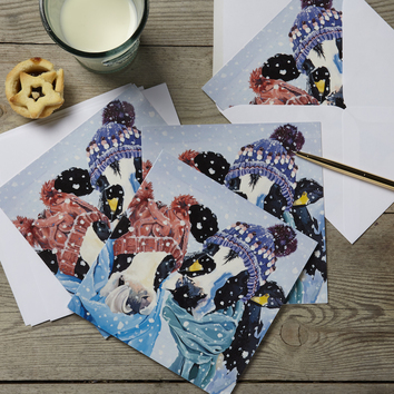 Cows in Scarfs Christmas Card by Lauren's Cows