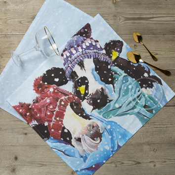 Winter scene Tea towel