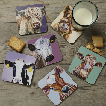 Set of Six Cow Coasters by Lauren's Cows
