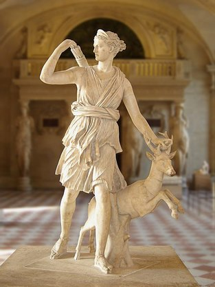 Artemis and Deer marble statue