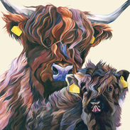 Scottish Cow and Calf Painting