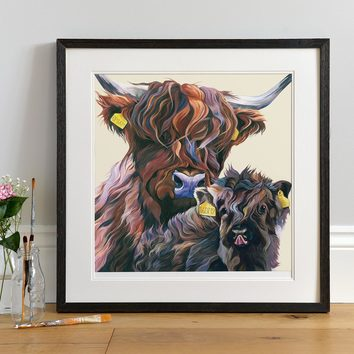 Personalised Highland Cow Art Print