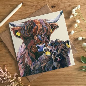Highland Cow Christening Card