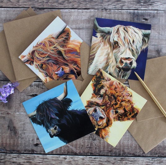 Highland Cattle Thank You cards by Lauren's Cows