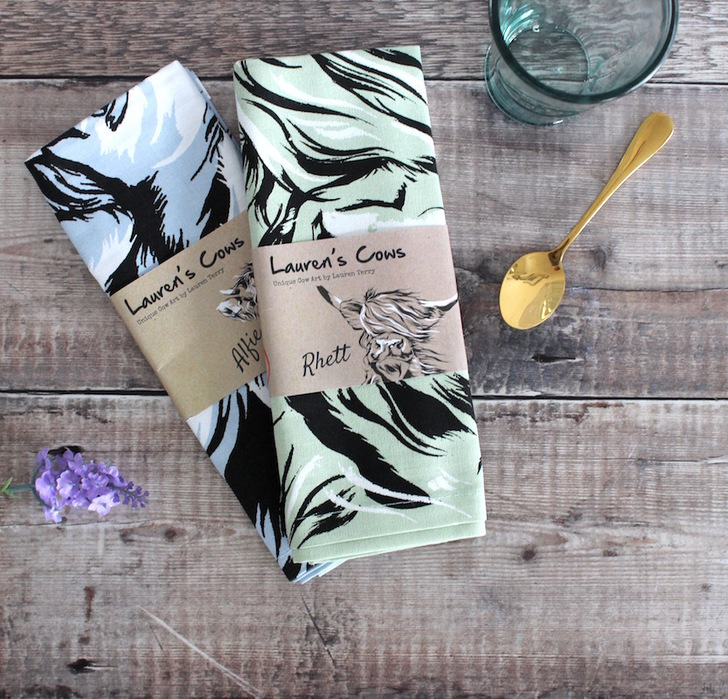 Set of Two Highland Cow Tea Towels