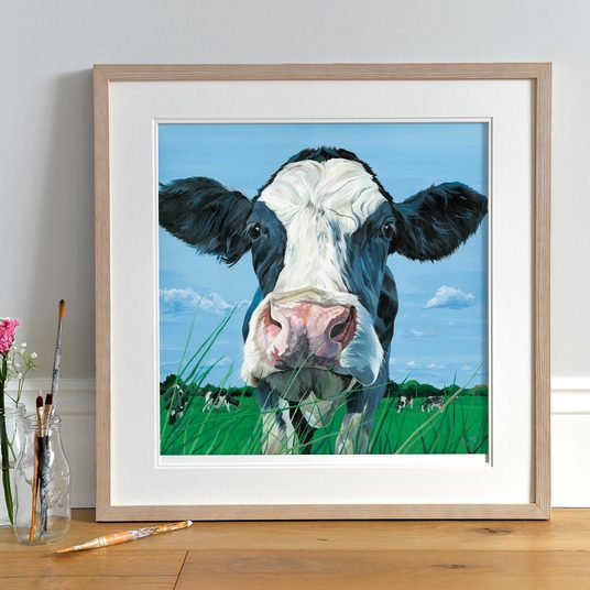 Nosey Friesian Cow Painting