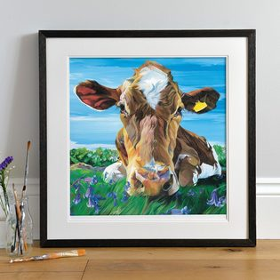 Friendly Jersey Cow Painting by Lauren's Cows