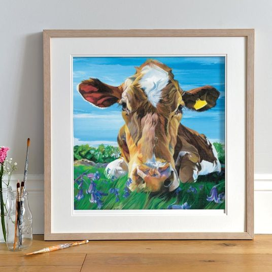 Jersey Cow in field of bluebells by Lauren's Cows