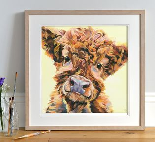 Highland Calf painting by Lauren's Cows