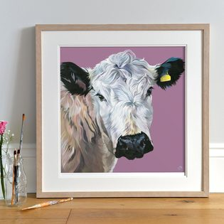 British White Cattle painting