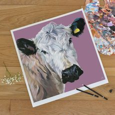 British White Cattle Painting Unframed