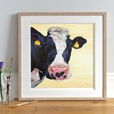 'Freda' Holstein Cow print framed Light