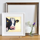 'Freda', Friesian Cow picture framed White