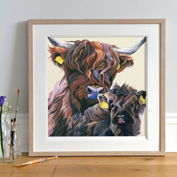 Highland Cow and Calf Artwork