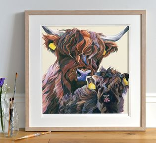 Scottish Highland Cattle painting by Lauren's Cows