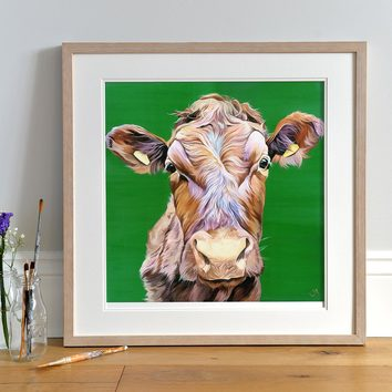 Red Cow Art Print