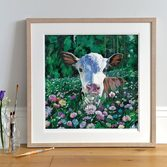 Posy, Calf art Print in Light Wood Frame