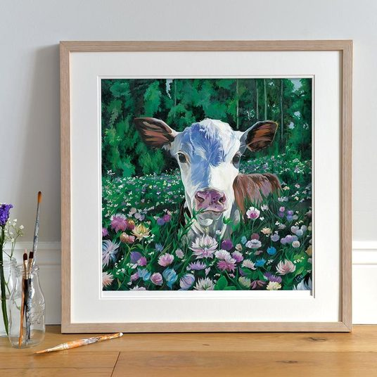 Colourful Calf with flowers Painting