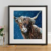 Snowy Highland Cow Art Print in Dark Frame