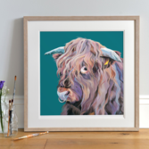 Archie Highland Bull Print framed in Light Wood