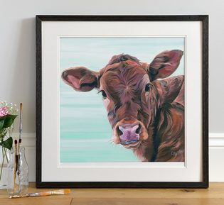 Calf Painting on Teal Background by Lauren's Cows