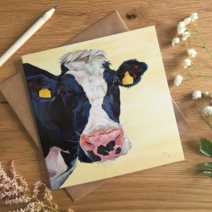 Freda Black and White Cow card by Lauren's Cows