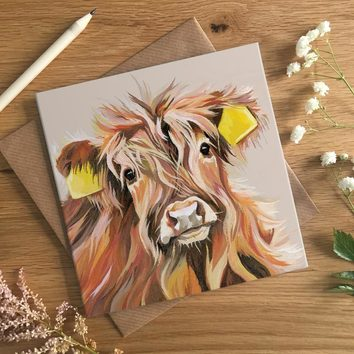 Highland Calf Greetings Card