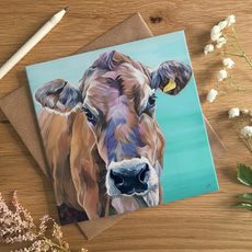 Jersey Cow Art Card by Lauren's Cows