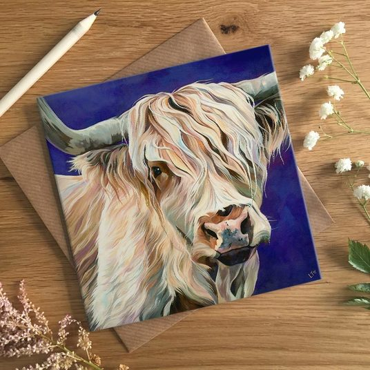 Scottish Cow Card by Lauren Terry