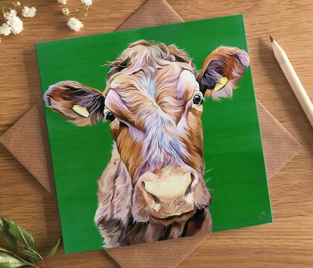 Nosey Cow Birthday Card