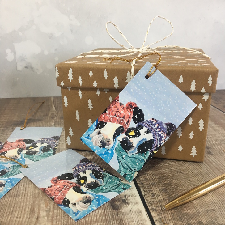 Snowy Cows Gift Tags