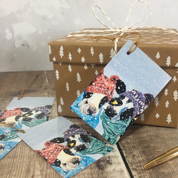 Snowy Cow Gift Tags