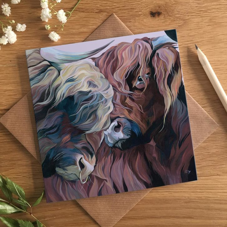 Nuzzle, Highland Cow Valentines Card by Lauren's Cows