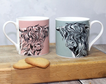 Mr and Mrs Highland Cow Mug Set