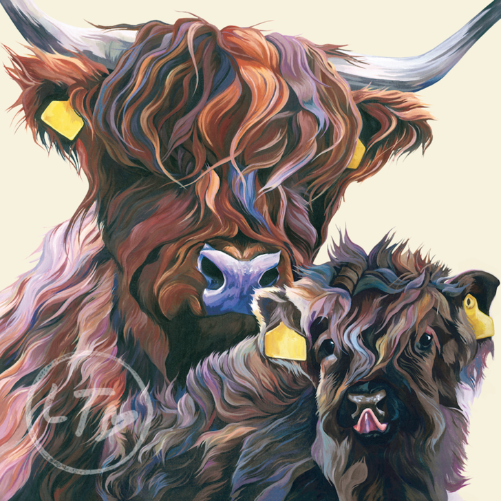 Highland Cow and Calf 'Wee One' Original Painting