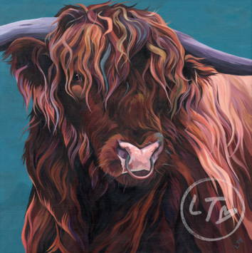 Highland Bull Painting by Lauren's Cows