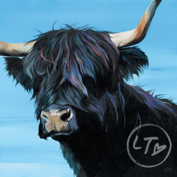 Artwork of a Black Highland Cow by Lauren Terry