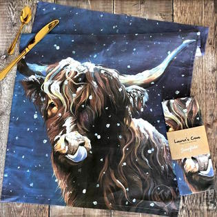 Snowy Highland Cow dish towel by Lauren's Cows