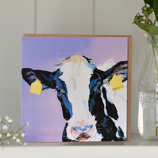 Purple Friesian Holstein greeting card, great for cow lover's birthdays.