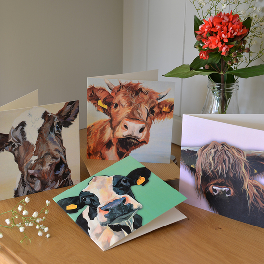 Cow Notecard set with brown kraft envelopes