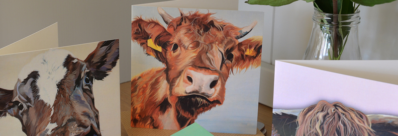 Colourful fine art cow notecards and note lets perfect for thank you's.