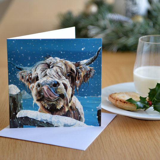 Perfect Highland Cow in snow card for Cow Lover's Christmas