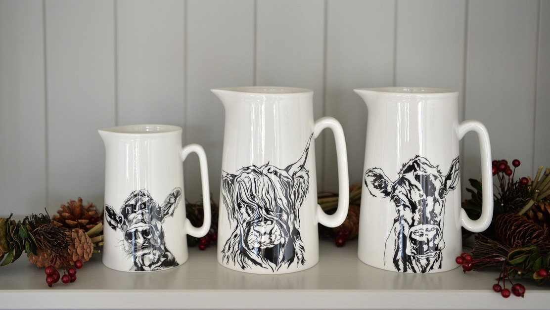 Cow Milk Jugs. Highland Cow and Jersey Cow