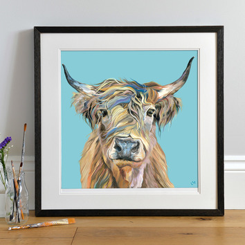 Lifestyle photo of a Framed Heather print by Lauren's Cows