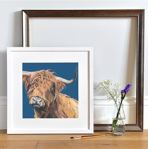 Hairy Cow with a Navy Blue background by UK artist