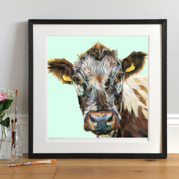 Shorthorn Cow Giclee Art Print mounted and framed
