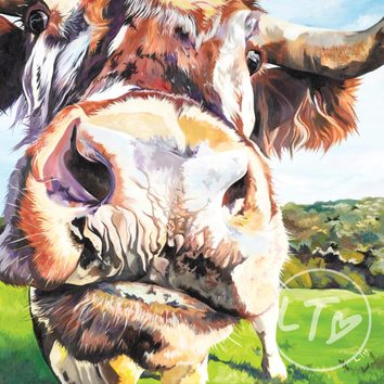 A Curious Longhorn Cow painted using vibrant colours and great detail